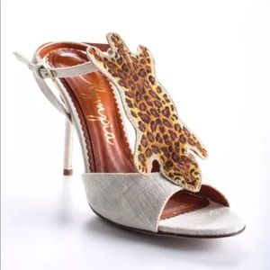 3d52e0f13870 Charlotte Olympia Shoes - Charlotte Olympia Ivory Canvas Leopard Heel 36 6
